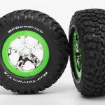 Traxxas-TRX-5865-Banden—velgen–gemonteerd–gelijmd-(SCT–chroom–groene-beadlock-wiel–BFGoodrich-Mud-T