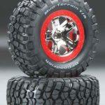 Traxxas-TRX-5869-Banden—velgen–gemonteerd–gelijmd-(SCT-chroom–rood-beadlock-stijl-wielen–BFGoodrich-Mu