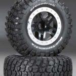 Traxxas-TRX-5885-Banden—velgen–gemonteerd–gelijmd-(SCT-Split-Spoke–zwart–mat-chroom-beadlock-wielen–B