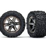Traxxas-TRX6773X-Banden-en-wielen–gemonteerd–gelijmd-(2-8—)-(Rustler-4X4-zwart-chroom-wielen–Talon-Extre