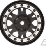 Pro-Line-PR2769-13-Impulse-1.9—Black-Silver-Plastic-Internal-Bead-Loc-Wheels-for-Rock-Crawlers-Front-or-Rear