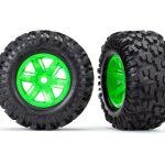 Traxxas-Tires—wheels–assembled–glued-(X-Maxx-green-wheels–Maxx-AT-tires–foam-inserts)-(left—right)-(2)—TRX7772G
